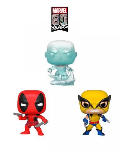Pack El Hombre de Hielo, Lobezno y Deadpool (1ª Aparición) Marvel 80th Muñeco Funko Pop! Bobble Vinyl