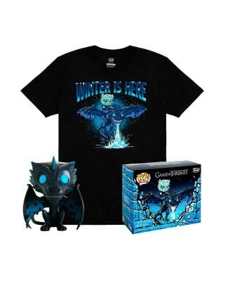 Icy Viserion (Brilla en la Oscuridad) Juego de Tronos Pop! & Tee Caja Funko