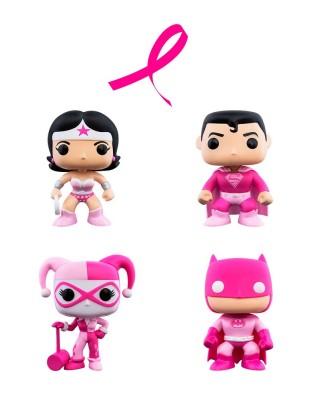 Pack Superman, Wonder Woman, Batman y Harley Quinn Concienciación Cáncer de Mama DC Muñeco Funko Pop! Vinyl