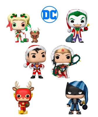 Pack Santa Joker, Harley Quinn, Superman, Wonder Woman, Flash y Batman DC Holiday Muñeco Funko Pop! Vinyl