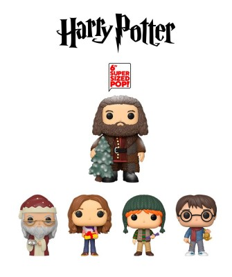 Pack Harry Potter, Hermione Granger, Ron Weasley, Albus Dumbledore y Rubeus Hagrid Harry Potter Holiday Muñeco Funko Pop! Vinyl