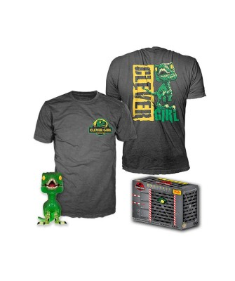 Clever Raptor Jurassic Park Pop! & Tee Caja Funko