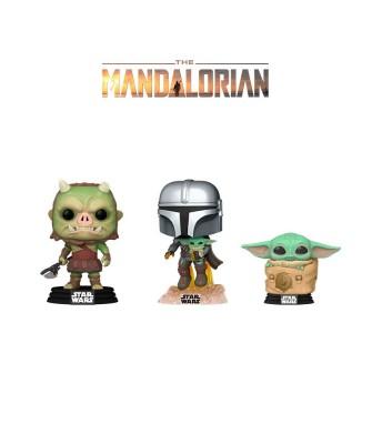 Pack Mando con Jet Pack, Baby Yoda en la Bolsa y Gamorreano The Mandalorian Star Wars Muñeco Funko Pop! Bobble Vinyl