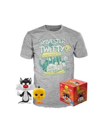 Silvestre y Piolín Looney Tunes Pop! & Tee Caja Funko